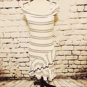 Venus cold shoulder grey and white striped dress